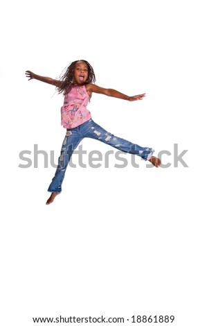 Young African American girl jumping in the air  Isolated over white - stock photo