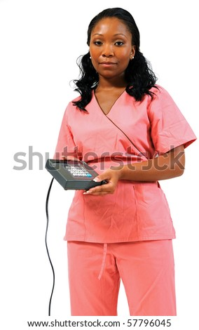 Young African-American healthcare professional holding a credit card machine - cost of healthcare reform - stock photo