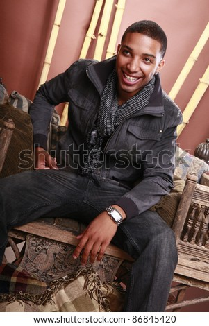 Young african american in fall attire - stock photo