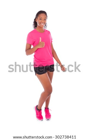 Young african american jogger woman making thumbs up gesture, isolated on white background - stock photo