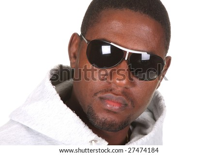 Young african american male on white background - stock photo