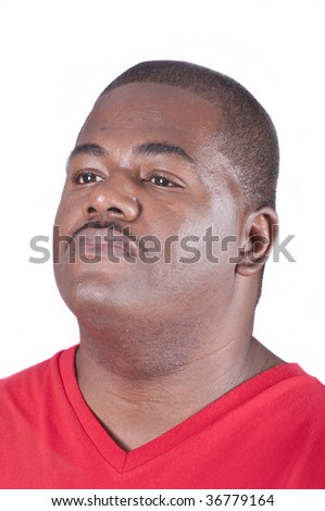 Young African american man looking off to side, isolated on White