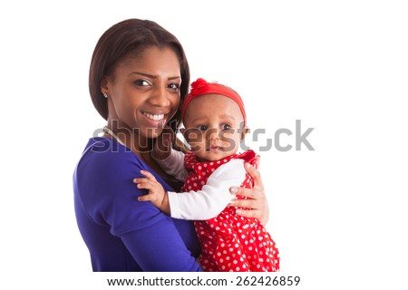 Young african american mother holding with her baby girl isolated on white background - stock photo