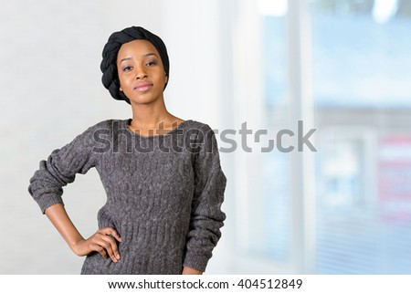 Young african american muslim woman  - stock photo