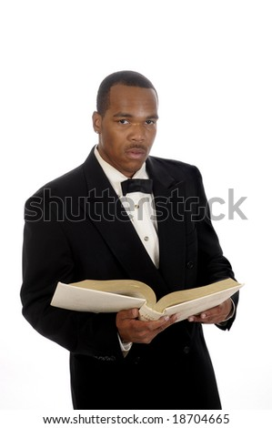 young African American preacher - stock photo