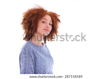 Young african american teenage girl isolated on white background - stock photo