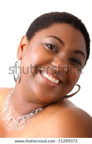 Young African American Woman Beautiful Smile on Isolated White Background
