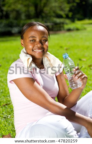 young african american woman doing fitness workout - stock photo