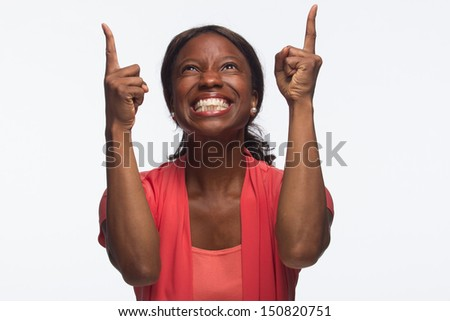 Young African American woman happy and excited, horizontal - stock photo