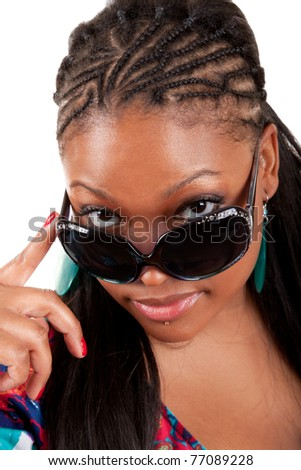 Young African American woman in sunglasses glamour portrait