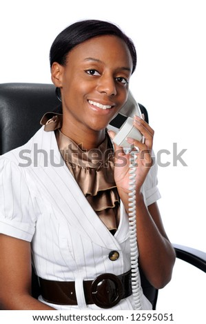 Young African American woman talking on the phone