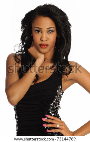 Young African American Woman wearing a black dress isolated on a white background - stock photo
