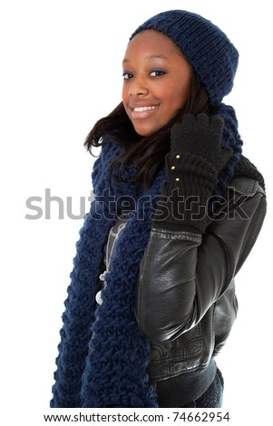 Young african american woman wearing winter dress
