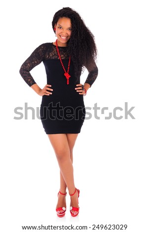Young african american woman with long hair isolated - stock photo