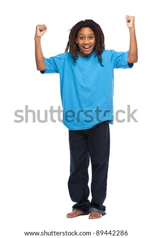 young african boy posing in studio - stock photo