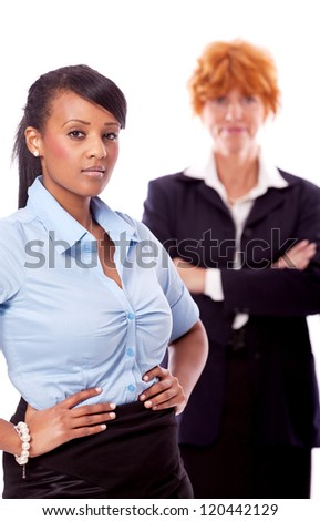 young african business woman with chief in background
