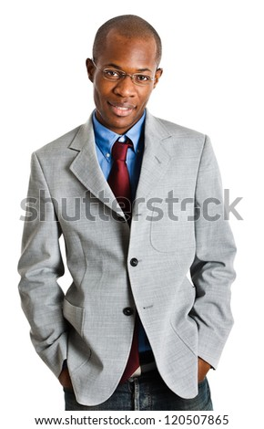 Young african businessman isolated on white - stock photo