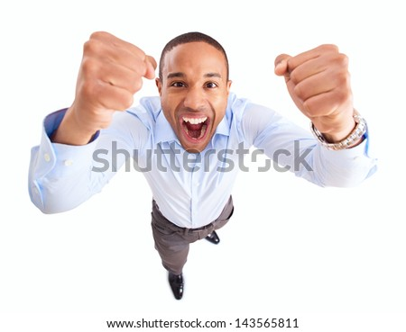 Young African Businessman Raises Fist In Joy Over White Background - stock photo