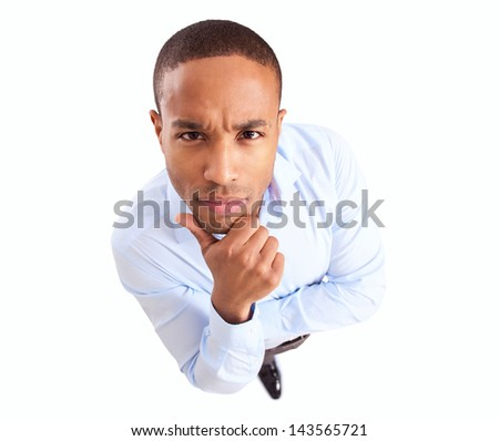 Young African Businessman Thinking Over White Background - stock photo