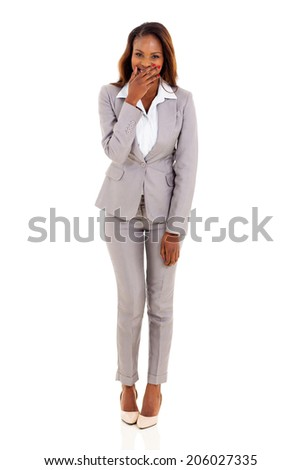 young african businesswoman laughing isolated on white background - stock photo
