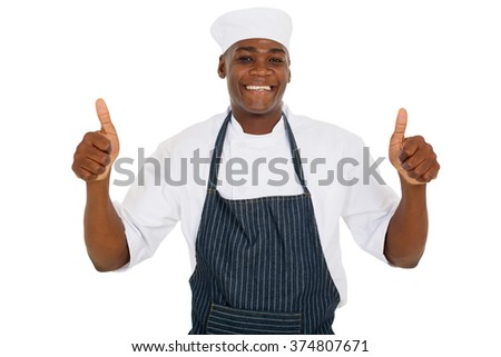 young african chef giving thumbs up - stock photo