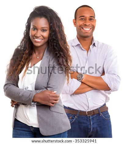 Young african couple smiling isolated over a white background - stock photo