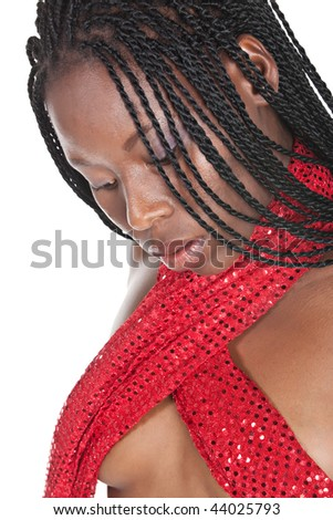 young african girl with braids and a tiny red top - stock photo