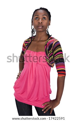 young african girl with dreadlocks casual dressed - stock photo