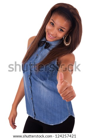 Young african woman black in background white - stock photo