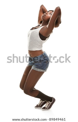 young african woman dancing hip-hop - stock photo