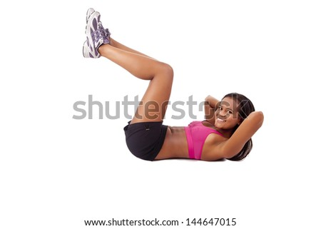 Young african woman in great shape - fitness concept - stock photo