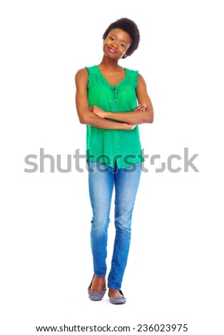Young african woman isolated on white background - stock photo