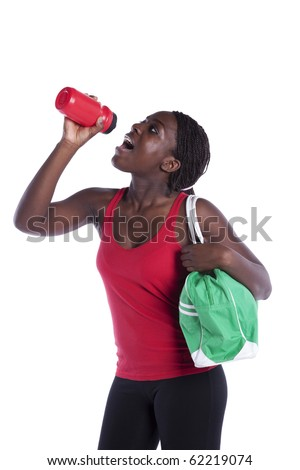 Young african woman refreshing  her seat after the exercise (isolated on white) - stock photo