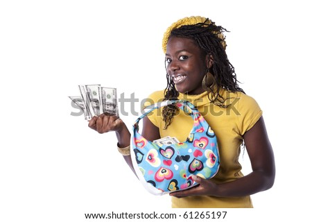young african woman showing money from her wallet (isolated on white) - stock photo