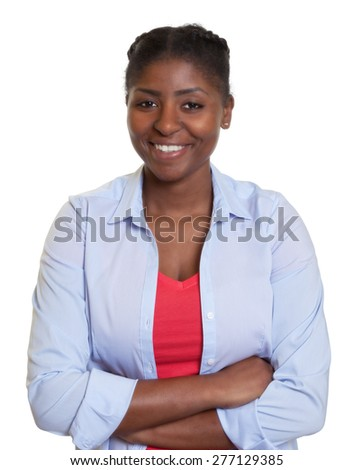 Young african woman with crossed arms - stock photo