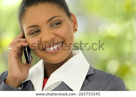 Young Afro American Businesswoman on the phone - stock photo