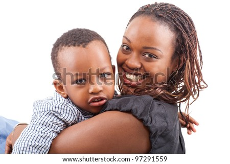 Young afro american mother with her son isolated over a white background. - stock photo