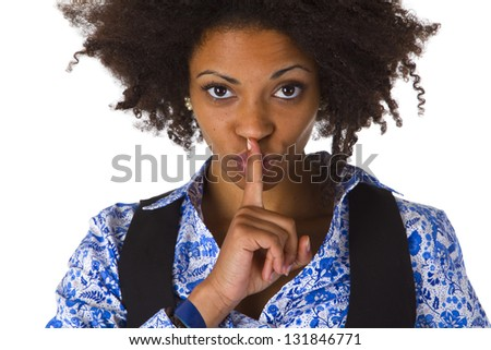 Young afro american saying shhh- be quiet - isolated on white background - stock photo