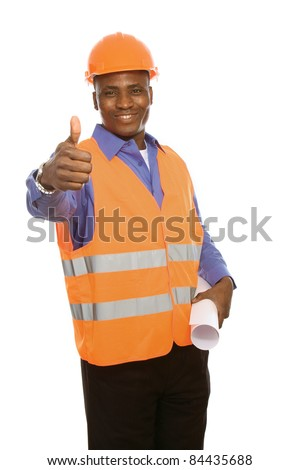 Young Afro-American with blueprints showing thumb up isolated on white - stock photo