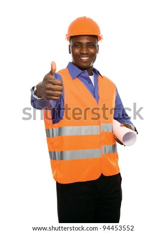 Young Afro-American with blueprints showing thumb up isolated on white background - stock photo