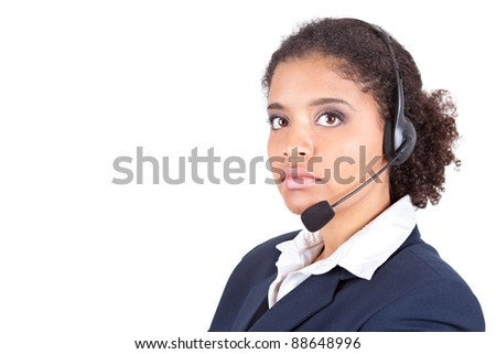 young Afro woman with headset , customer service, isolated on white background