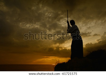 young aikido man fighter at sunset light - stock photo