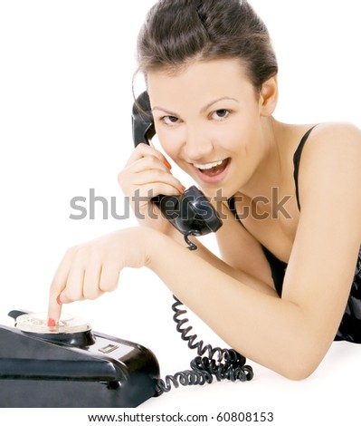 young alluring girl calling at the phone - stock photo