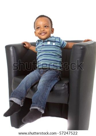 Young american family in a studio setting. - stock photo
