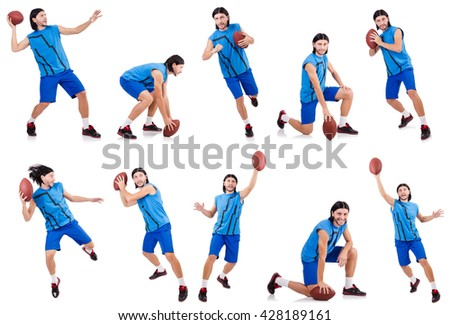 Young american football player on white - stock photo