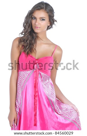 Young and attractive brunette women posing - stock photo