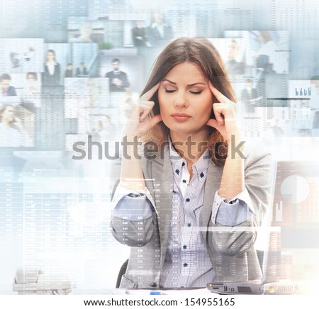 Young and attractive business woman in stress  - stock photo
