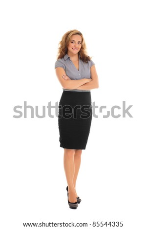 Young and attractive business woman isolated on white