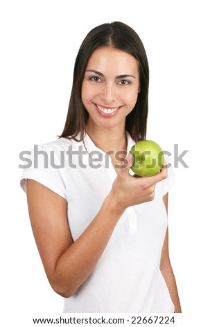 Young and attractive girl holding an apple. Isolated on white. - stock photo