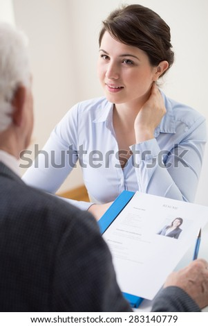 Young and attractive woman applying for her first job